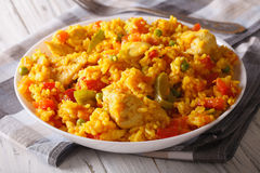 Hispanic cuisine: Arroz con pollo close up in a bowl. Horizontal. Hispanic cuisine: Arroz con pollo - rice with chicken close up in a bowl on the table Royalty Free Stock Image