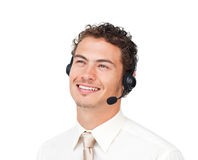 Hispanic customer service agent Stock Images