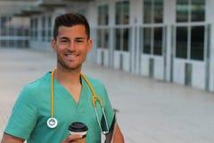 Hispanic doctor smiling in the hospital.  Stock Photo