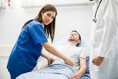 Hispanic doctor working in the ER royalty free stock photography