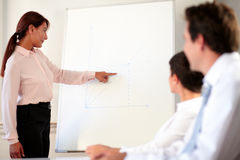 Hispanic executive woman giving a presentation Stock Images