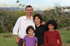 Hispanic Family. Happy Costa Rican family of four Stock Photos