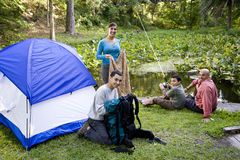 Hispanic family camping royalty free stock images