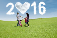 Hispanic family celebrate new year at field Stock Images