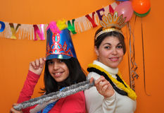 Hispanic Family Celebrating New Years Eve. Royalty Free Stock Photo