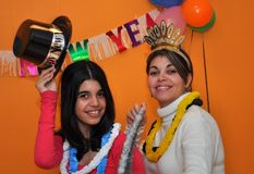 Hispanic Family Celebration of New Years Eve Stock Photo