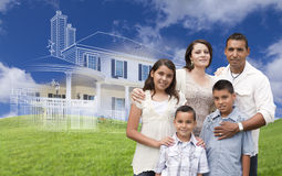 Hispanic Family with Ghosted House Drawing Behind Royalty Free Stock Photography