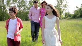 Hispanic Family Walking In Countryside Royalty Free Stock Image