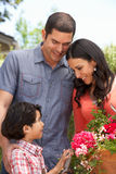 Hispanic Family Working In Garden Tidying Pots Royalty Free Stock Photography
