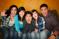 Hispanic Familywith Big Reaction Royalty Free Stock Photos