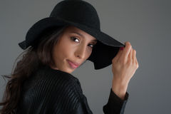 Hispanic fashion model posing at studio. Close up portrait. Stock Image