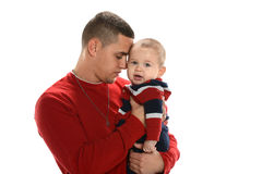 Hispanic Father Holding Son Royalty Free Stock Photos