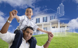 Hispanic Father and Son with Ghosted House Drawing Behind Stock Images