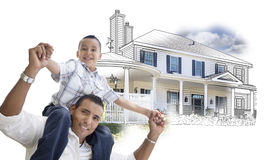 Hispanic Father and Son Over House Drawing and Photo. Combination on White royalty free stock images