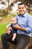 Hispanic Father and Son Posing for Portrait Stock Photography