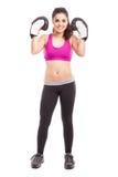 Hispanic female boxer winning Stock Photo