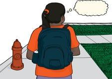 Hispanic Female Student on Sidewalk. Single female Hispanic student walking near fire hydrant Stock Images