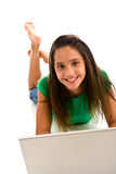 Hispanic female typing on laptop Stock Photos