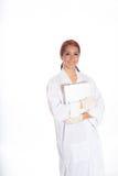 Hispanic Female Wearing Lab Coat While Holding Clipboard Stock Image