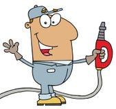 Hispanic Gas Attendant Man. Happy Waving Hispanic Gas Attendant Man vector illustration