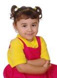 Hispanic girl arms crossed, three years royalty free stock photos