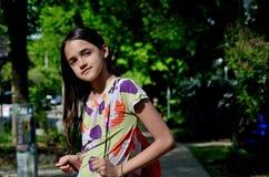 Hispanic Girl Going to School Stock Images