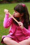 Hispanic girl with ruler Royalty Free Stock Photography
