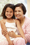 Hispanic grandmother and granddaughter Royalty Free Stock Image