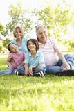 Hispanic Grandmother And Grandfather Relaxing With Grandchildren In Park Stock Image