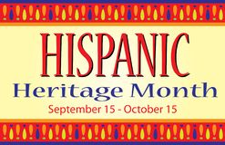 Colorful Hispanic Heritage Month Banner Postcard. Hispanic Heritage Month Banner Postcard Sign. September 15 through October 15 vector illustration