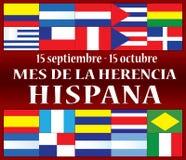 Hispanic Heritage Month September 15 - October 15. Mes de la Herencia Hispana royalty free illustration