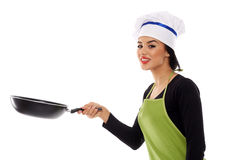 Hispanic lady cook with frying pan Royalty Free Stock Images