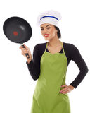 Hispanic lady cook with frying pan Royalty Free Stock Image
