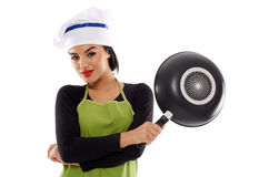 Hispanic lady cook with frying pan Royalty Free Stock Photography