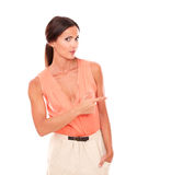 Hispanic lady with fingers gesturing pointing Royalty Free Stock Images
