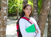 Hispanic latin teenager girl backpack royalty free stock image