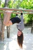 Hispanic latin teenager girl playing jungle Royalty Free Stock Image