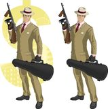 Hispanic mafioso with Tommy-gun cartoon Royalty Free Stock Image