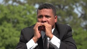 Hispanic Male Business Man Afraid And Fearful. A handsome adult hispanic man stock video footage