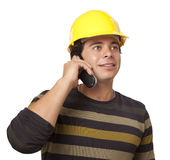 Hispanic Male Contractor in Hard Hat on Phone Isolated Royalty Free Stock Photography