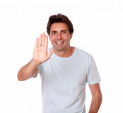 Hispanic male gesturing stop with hand Royalty Free Stock Photos