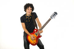 Hispanic male guitarist teen isolated Stock Photo