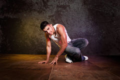 Hispanic male hip-hop dancing Stock Photos