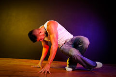 Hispanic male hip-hop dancing Stock Images
