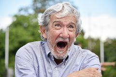Hispanic Male Under Stress. A hispanic senior adult male Royalty Free Stock Images