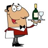 Hispanic Male Waiter. Happy Smiling Hispanic Male Waiter serving vector illustration