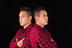 Hispanic male wearing red black squared shirt from Stock Photo