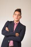 Hispanic male wearing shirt and blazer jacket arms Stock Photography