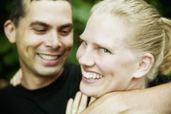 Hispanic Man and Blonde Woman Royalty Free Stock Photo