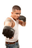 Hispanic Man with Boxing Gloves Stock Image